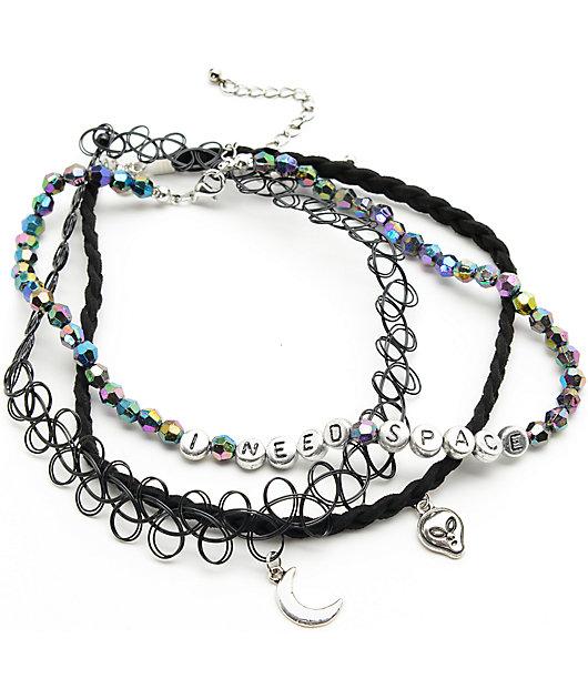 Stone + Locket Alien & Tattoo Beaded Choker Necklaces