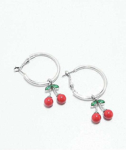 Stone + Locket Cherry Silver Hoop Earrings