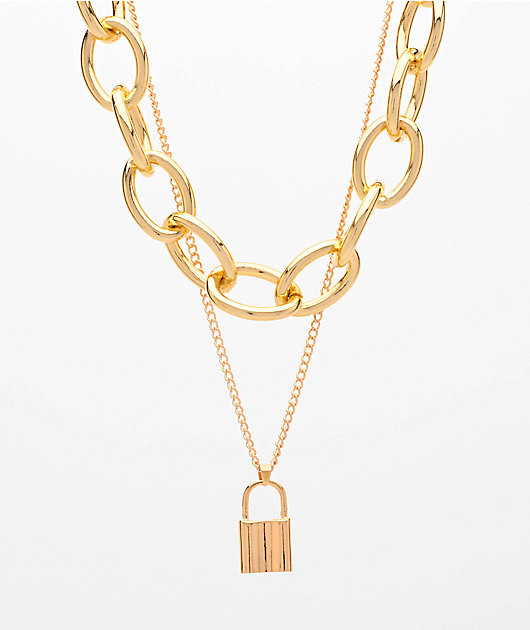 Stone + Locket Chunky Gold & Padlock 2 Pack Chain