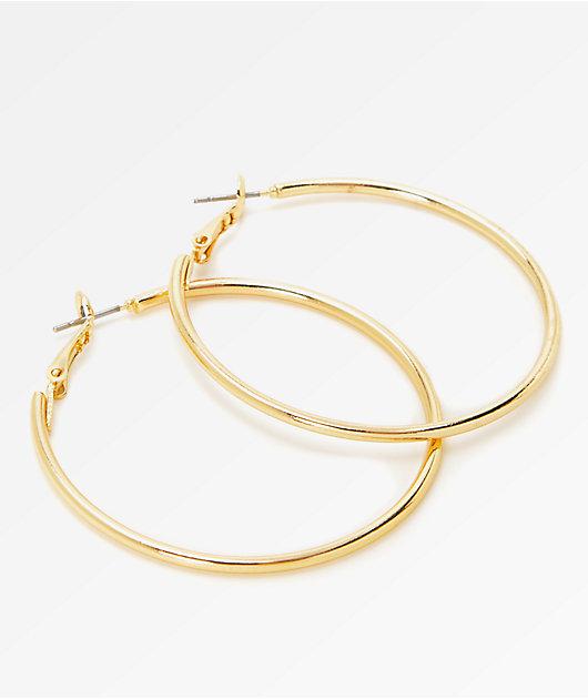 Stone + Locket Gold Hoop Earrings