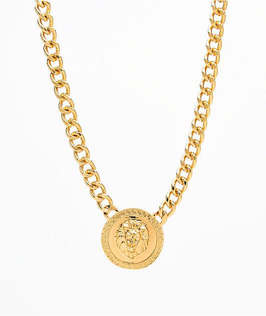 Stone + Locket Lion Medallion Necklace