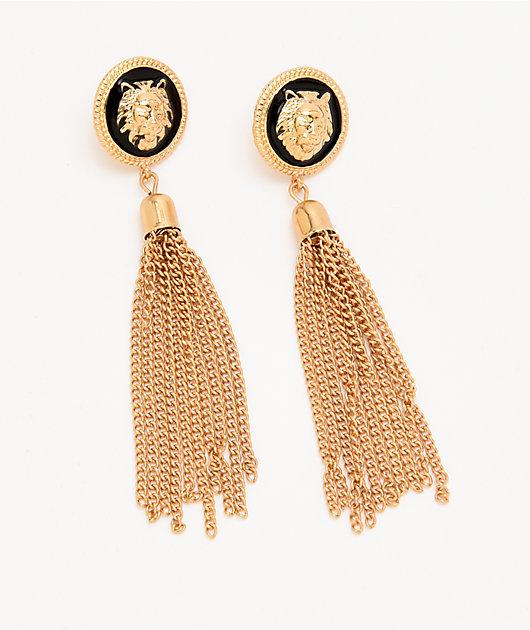 Stone + Locket Lion Medallion Waterfall Earrings