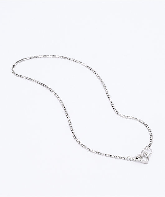 Stone + Locket Mini Heart & Clasp Silver Necklace