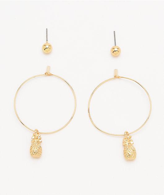 Stone + Locket Pineapple Earring 2 Pack