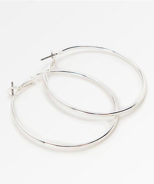 Stone + Locket Silver Hoop Earrings