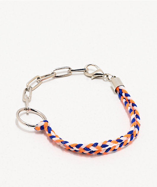 Stone + Locket pulsera trenzada naranja y azul