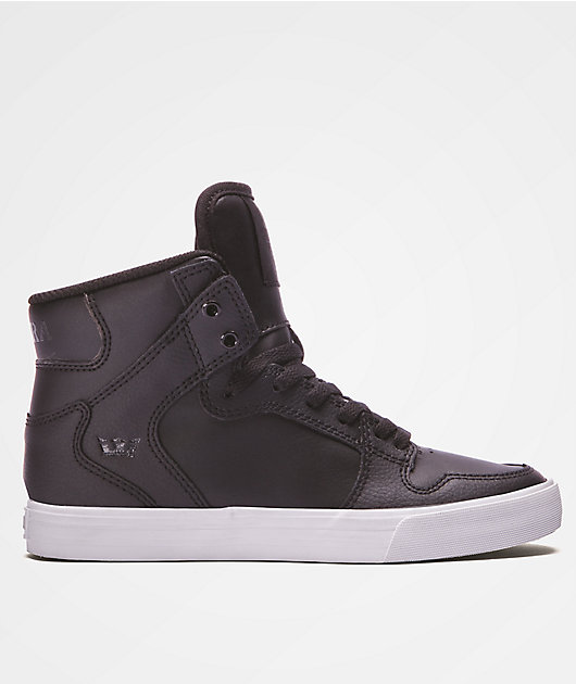 Supra Kids Vaider Black & White Leather Shoes