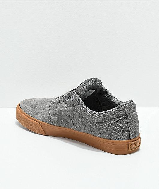 Supra Stacks II Vulc Light Grey & Gum Skate Shoes