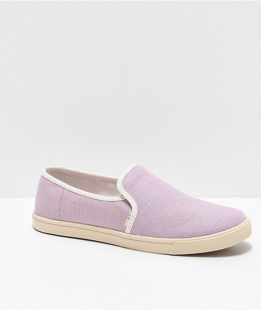 TOMS Clemente Purple & White Slip-On Shoes