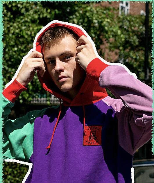 Teddy Fresh Colorblock Purple Hoodie