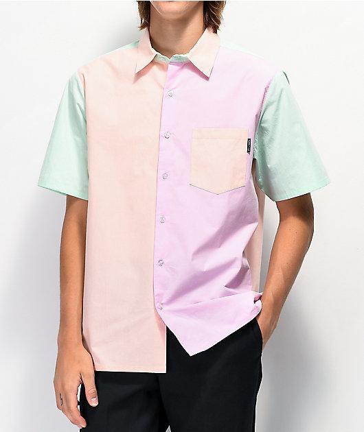 Teddy Fresh Colorblock Woven Short Sleeve Button Up Shirt