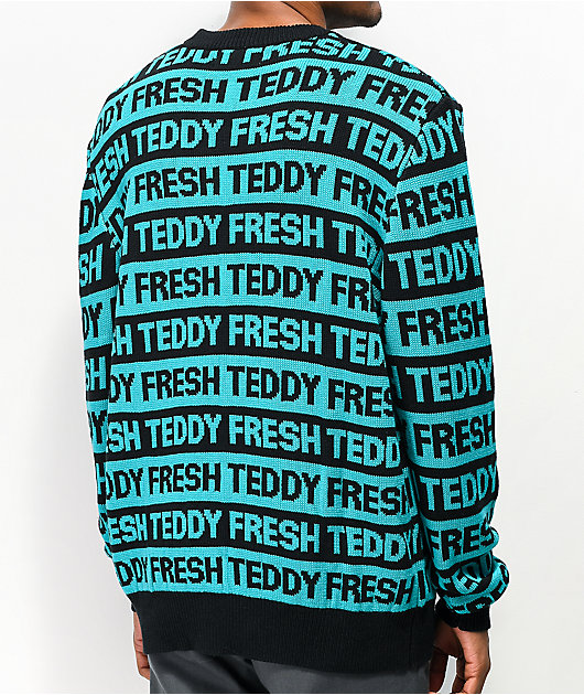 Teddy Fresh Repeat Turquoise & Black Sweater
