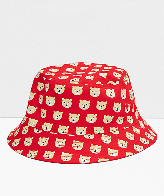Teddy Fresh Twill Red Reversible Bucket Hat