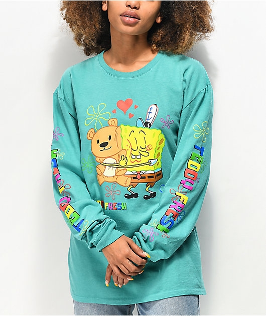 Teddy Fresh x SpongeBob SquarePants Bear Hug Seafoam Green Long Sleeve T-Shirt