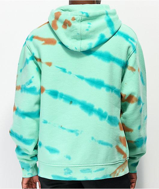 Teenage Cracked Earth sudadera con capucha menta de tie dye