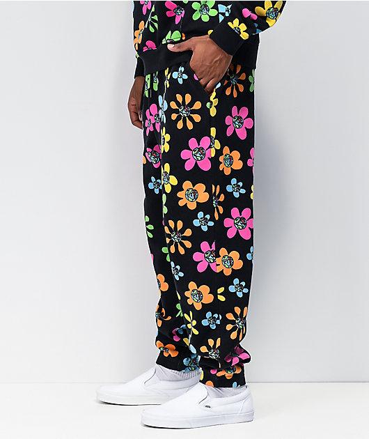Teenage Floral All Over Print Black Sweatpants