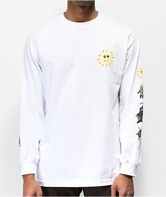 Teenage Give Peace White Long Sleeve T-Shirt
