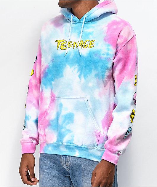Teenage Meltdown Blue & Pink Tie Dye Hoodie