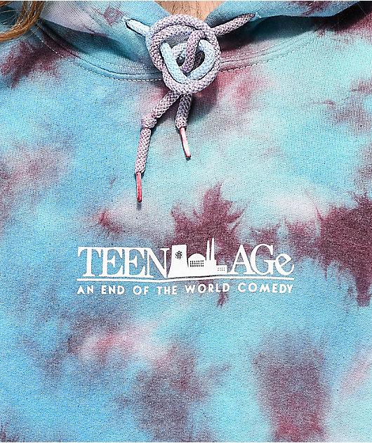 Teenage Scream Teal Tie Dye Hoodie