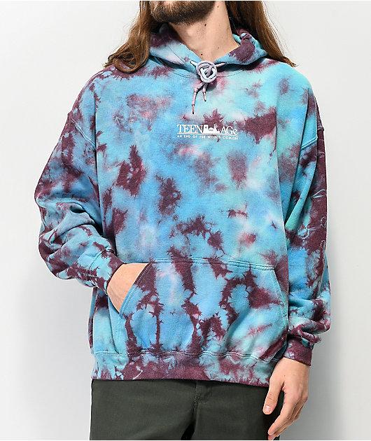 Teenage Scream sudadera con capucha tie dye verde azulado
