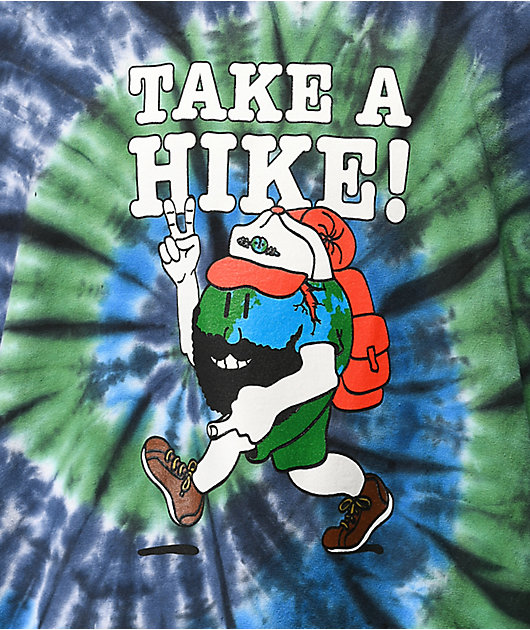 Teenage Take A Hike Blue & Green Tie Dye Long Sleeve T-Shirt