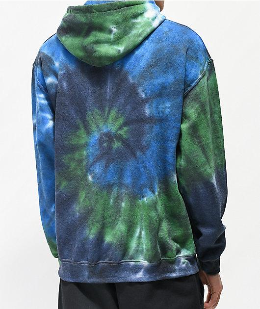 Teenage Take A Hike sudadera con capucha tie dye azul, verde y negra