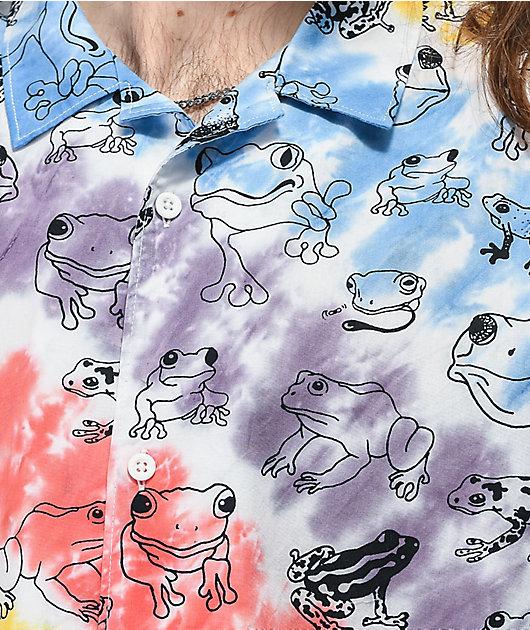 Teenage Trippy Frog Tie Dye Short Sleeve Button Up Shirt