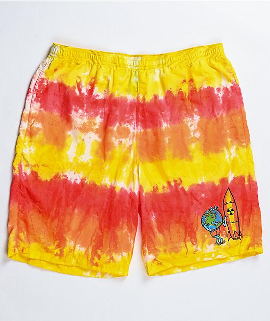 Teenage Wipe Out Orange Tie Dye Board Shorts