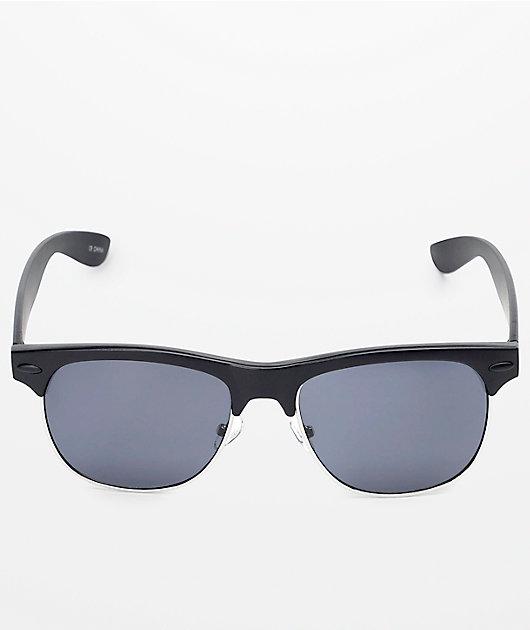 Temple Retro Black & Silver Sunglasses