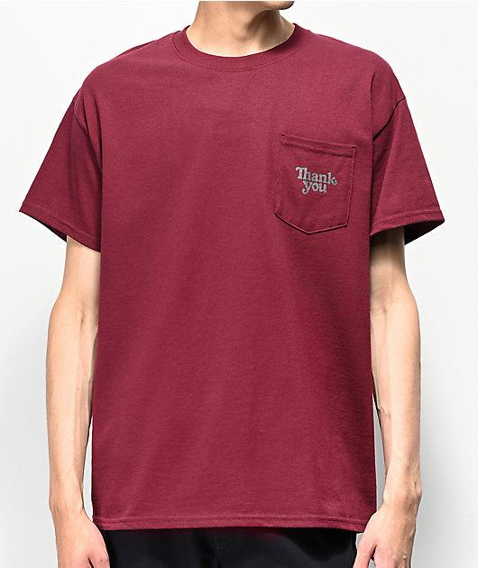 Thank You camiseta borgoña con bolsillo