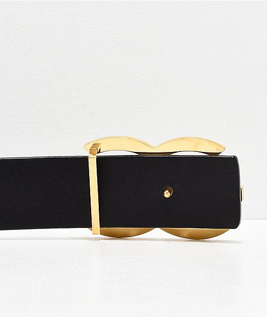 The Gold Gods Black & Gold Leather Belt