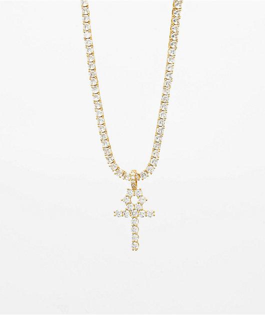 The Gold Gods Diamond Ankh Cross & 4mm Tennis Chain Necklace