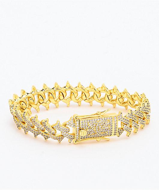 The Gold Gods Diamond Spiked Gold Cuban Link Bracelet