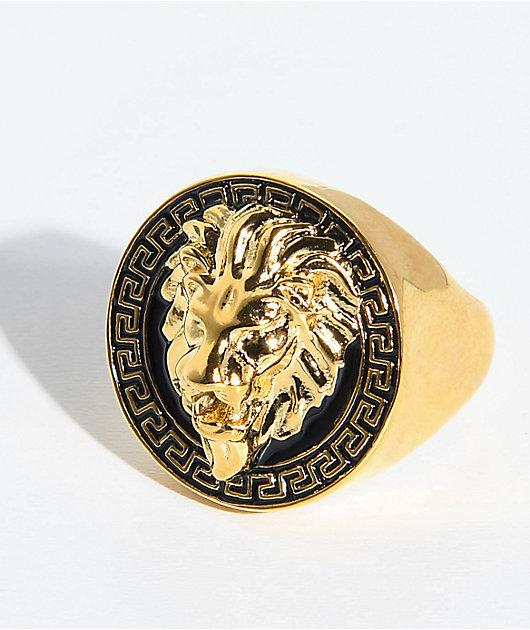 The Gold Gods Lion Head Black & Gold Ring