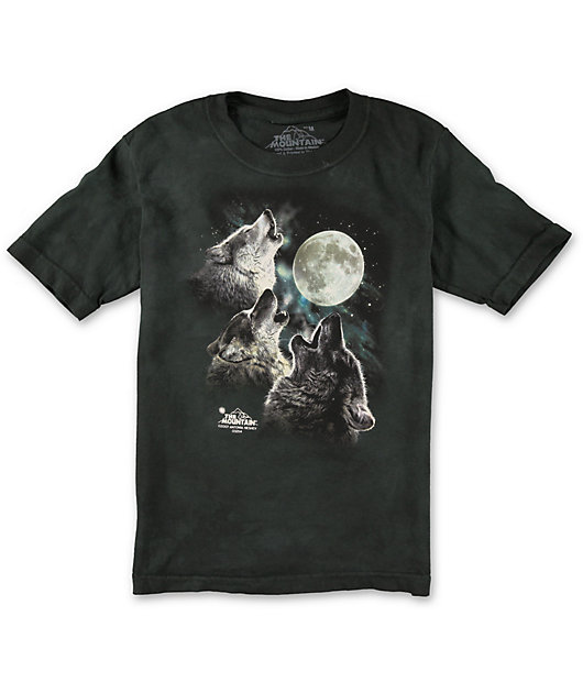 The Mountain Kids Graphic Tee Three Wolf Moon Youth Size
