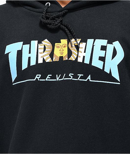 Thrasher Argentina sudadera con capucha negra