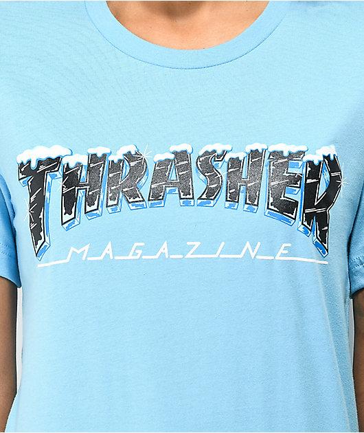 Thrasher Black Ice Light Blue T-Shirt