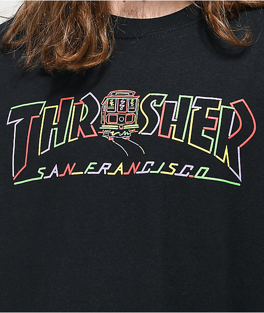 Thrasher Cable Car Long Sleeve T-Shirt Black