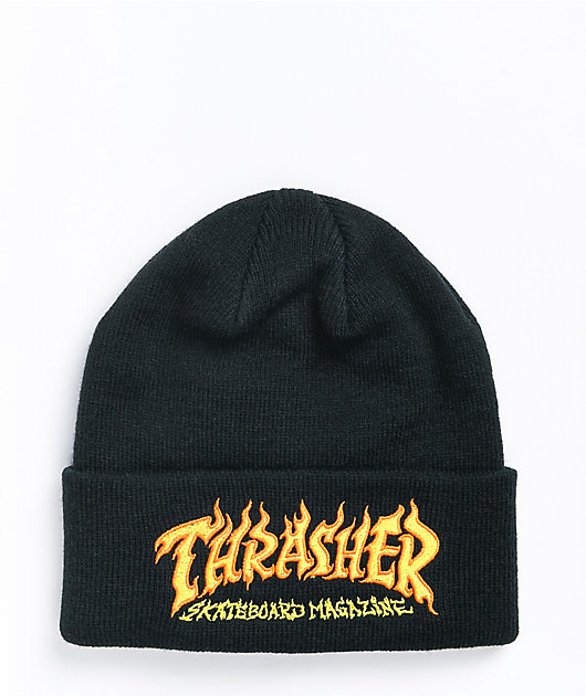 Thrasher Fire Logo Black Beanie