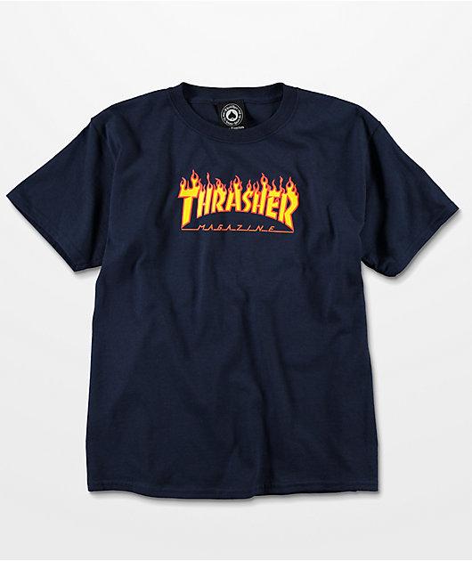 Thrasher Flame camiseta en azul marino para niños