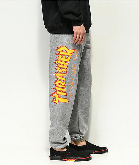Thrasher Flame pantalones deportivos en gris