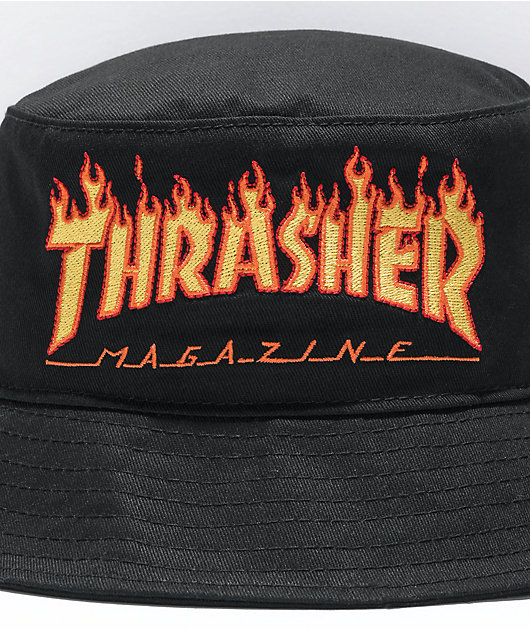 Thrasher Flames Black Bucket Hat