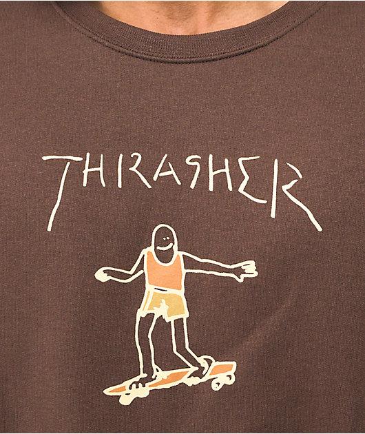 Thrasher Gonz Logo Brown Crew Neck Sweatshirt