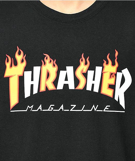 Thrasher Mag Flame camiseta negra