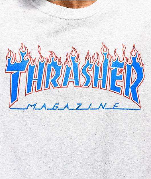 Thrasher Magazine Patriot Flame Ash Grey T-Shirt