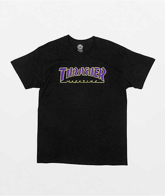 Thrasher Outlined Black & Purple T-Shirt