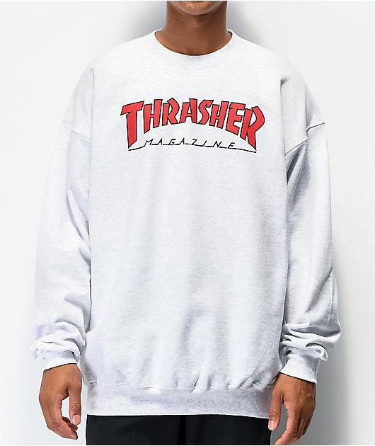 Thrasher Outlined sudadera gris con cuello redondo