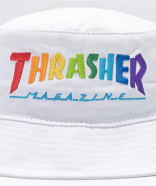 Thrasher Rainbow White Bucket Hat