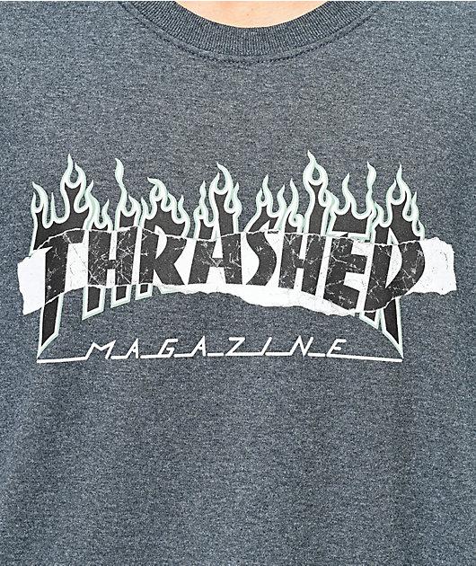 Thrasher Ripped Dark Grey T-Shirt