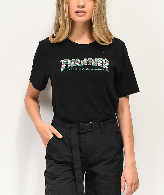 Thrasher Roses Black Boyfriend Fit T-Shirt